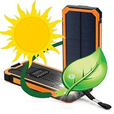 Solar Charger, Solar Power Bank by Edaisy 12000mAh External Backup Battery Pack Dual USB Cell Phone Charger with 6 LED Light Carabiner Compass Portable for Emergency Outdoor Camping Travel (Orange). For product info go to:  https://www.caraccessoriesonlinemarket.com/solar-charger-solar-power-bank-by-edaisy-12000mah-external-backup-battery-pack-dual-usb-cell-phone-charger-with-6-led-light-carabiner-compass-portable-for-emergency-outdoor-camping-travel-orange/
