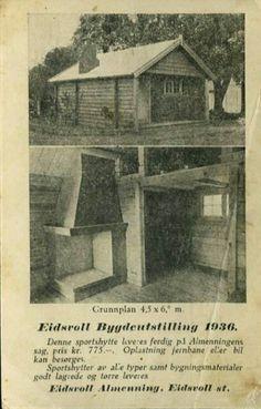 Akershus fylke Eidsvoll kommune Eidsvoll Bygdeutstilling 1936. Reklamekort for Eidsvoll Almennings hytter.