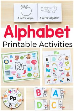Alphabet printables and activities for preschool and kindergarten. Printable alphabet activities that are hands-on and fun! Teach letter identification, letter sounds and more. Alphabet Board, Alphabet Crafts, Printable Alphabet, Preschool Alphabet, Alphabet Games, Alphabet Letters, Alphabet Writing, Abc Games, Preschool Art