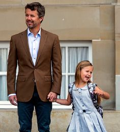 Crown Prince Frederik accompany her daughter Princess Josephine, who was brimming with confidence as they arrived at Tranegård School in Hellerup, Denmark, to begin Grade 0.