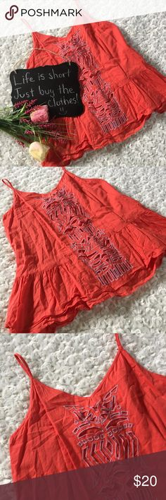 "Anthropologie Lilka orange cutout tank Orange Anthropologie Lilka cutout tank. It is wrinkled and has shows signs of minor wear. Size S. 16"" arm pit to arm pit. 22"" length. Anthropologie Tops Tank Tops"