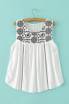 New Fashion Ladies' Vintage Floral Embroidery Women White Blouse O-neck Sleeveless Sexy Shirts casual Loose tops Blusas Frocks For Girls, Girls Dresses, Moda Junior, Loose Fitting Tank Tops, Loose Tops, Boho Fashion, Fashion Outfits, Street Fashion, Fancy Tops