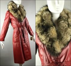 ViNtAgE 70s Leather Fur Trench Coat Jacket by MothFoodVintage