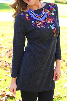 Doodle All Day Tunic Dress in Charcoal