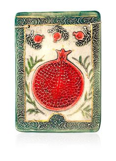 Pomegranate ceramic wall plaque. ART IN CLAY - Amir Rom - made in the Holy Land