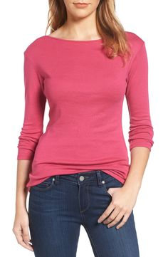 Three Quarter Sleeve Tee Nordstrom Half Yearly Sale, Feminine Style, Boat Neck, Turtle Neck, Pullover, Knitting, My Style, Tees, Quarter Sleeve