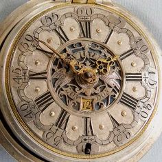 Fine English silver repousse pair case verge and fusee antique calendar pocket watch made for the Dutch market signed John Wilter, London, circa 1760