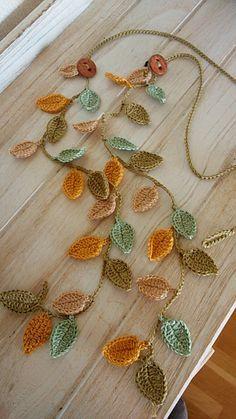 Crochet Leaf Patterns, Crochet Jewelry Patterns, Crochet Leaves, Crochet Motifs, Crochet Art, Crochet Diagram, Crochet Gifts, Crochet Accessories, Cute Crochet