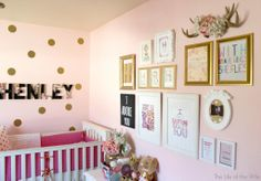 love the art wall, name, gold dots, & color scheme! (obviously without the crib ha)