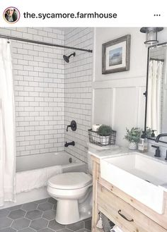 Resolve your small-space issues with these basic solutions for bathrooms. image This Small Bathroom Remodel Will Actually Stun You . Upstairs Bathrooms, Bathroom Floor Tiles, Downstairs Bathroom, Bathroom Renos, Tub Tile, Tile For Small Bathroom, Grey Grout Bathroom, Bathroom Remodel Small, Black Bathroom Floor