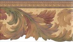 Formal Harvest Scroll Leaf Crackle Wallpaper Border EDG5133 #Warner