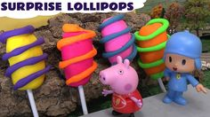 Lollipops made out of Play Doh with surprise inside.