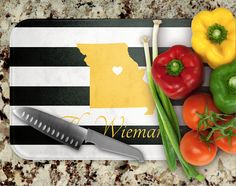 Custom State Glass Cutting Board Hostess Gift Personalized
