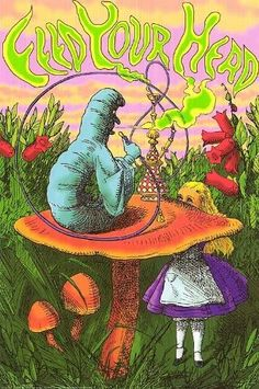 Feed Your Head Alice in Wonderland Hookah Caterpillar Art Hippie Wallpaper, Trippy Wallpaper, Hippie Painting, Trippy Painting, Psychedelic Drawings, Trippy Drawings, Disney Kunst, Disney Art, Pintura Hippie