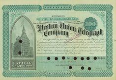 Western Union Telegraph Company stock certificate, 1890