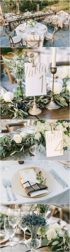 Winery wedding, candlesticks, gold table numbers, dishtowel napkins, seeded eucalyptus, cross back chairs, blue thistle // The Edges Wedding Photography: