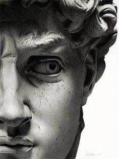 detail of David's face