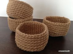 Crochet Home, Crochet Motif, Crochet Flowers, Knit Crochet, Design Crafts, Sewing Hacks, Jute, Diy And Crafts, Basket