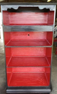 Black and red bookshelf I made from an armoire - SOLD