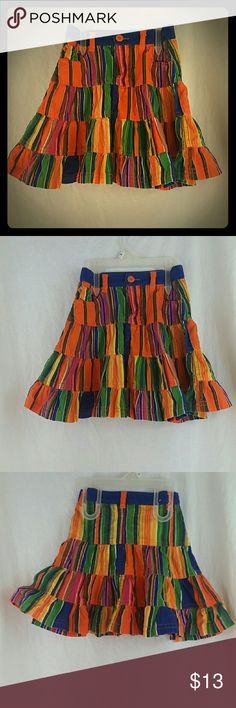 Children's Place Corduroy Bright Stripes Skirt 4T Bright, Courderoy, Tiered Skirt.  Size 4T. Children's Place Bottoms Skirts