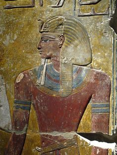 Wall Tomb Painting From the tomb of Pharaoh, Seti I  (died 1279 BCE)  --  Dynasty 19  --  Neues Museum, Berlin