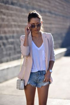 20 Simple and Comfy Casual Summer Outfits – Daily Posts for Women Trendy Summer Outfits, Casual Summer Outfits, Short Outfits, Classy Outfits, Summer Clothes, Pink Blazer Outfits, Mode Outfits, Fashion Outfits, Club Outfits