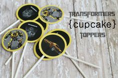 Free Transformers Cupcake Toppers - just punch! #transformers