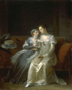 Painting by Marguerite Gérard, that is said to depict Madame Tallien and another one of her best friends, Madame Récamier sitting together.