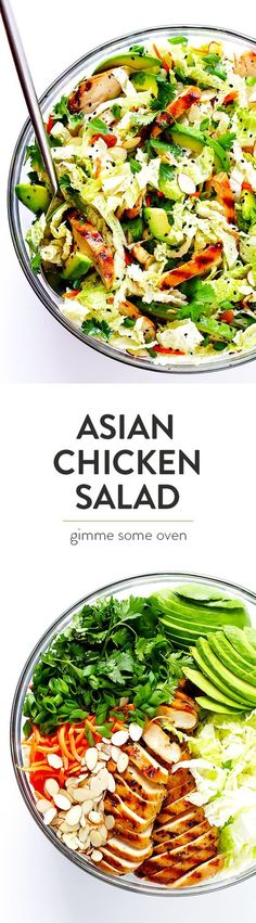This Asian Chicken Chopped Salad recipe is quick and easy to make, packed with fresh ingredients and zesty chicken, and tossed with a heavenly creamy sesame ginger vinaigrette. So delicious!! | gimmesomeoven.com