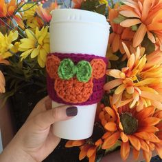 Minnie Mouse cup cozy, Minnie Mouse mug, Disney coffee mug cozy, fall autumn, Halloween, personal favorite from my Etsy shop https://www.etsy.com/listing/456620236/disney-coffee-cup-cozy-teacher-gift