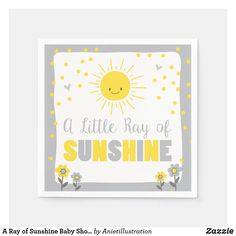 A Ray of Sunshine Baby Shower Paper Napkin Sun Baby Shower Napkins, Baby Shower Parties, Sunshine Birthday Parties, Sunshine Baby Showers, Adoption Party, Baby Shower Supplies, Future Mom, Nursery Neutral, Cocktail Napkins