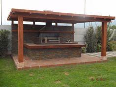 Pergola With Glass Roof Info: 3892670128 Outdoor Kitchen Grill, Backyard Kitchen, Outdoor Kitchen Design, Outside Patio, Patio Roof, Pergola Patio, Cheap Pergola, Pergola Ideas, Backyard Pavilion
