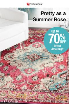 Safavieh brings you the colors of summer all year long in an area rug designed in bright pinks accented with blue and gold. The traditional pattern has a distressed vintage look that softens the bold colors without distracting from the vibrant warmth. Up to 70% off Select Safavieh Area Rugs*