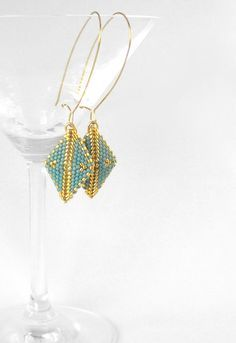 Drop Earrings with Peyote Diamond Shape by Beadwork & Coe