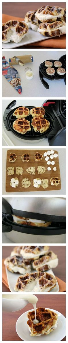 Cinnamon roll waffles filled with melted marshmallow and drizzled with icing.