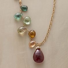 "JEWEL DROP NECKLACE -- Tourmalines, in varying sizes, shapes and colors, drop randomly from a textured 14kt goldfilled chain. S-hook clasp may be fastened wherever you like. Made in USA. Approx. 30""L."