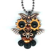 Steampunk Baby Hooty Owl Necklace Polymer Clay by Freeheart1