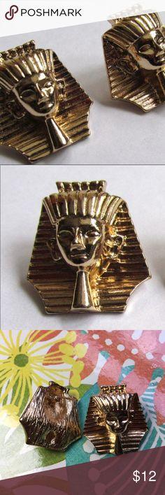 "Egyptian Pharoah King Tut Goldtone Stud Earrings Egyptian Pharoah King Tut Goldtone Fashion Stud Earrings --- Medium weight --- 3/4"" x 3/4"" Jewelry Earrings"