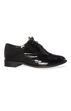 Prima15€ rk - Zapatos negros de charol para pie ancho