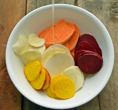 Root Veggie Chips - potatoes, beets, yucca, rutabaga, turnips, parsnips. Coat with olive oil and salt. Bake 400 - 30 mnts