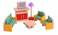 PLAN TOYS Dollhouse Furniture - Neo Living Room by Plan Toys. $18.38. This Toy Is Made From All Natural Organic Recycled Rubber Wood. Great Size For Little Hands. The Shower Even Has A Detachable Shower Head. Neo Style furniture sets are specially designed in fun bright colors. Children Can Enjoy Decorating Their Dollhouse With The Noe Set Of Furniture. From the Manufacturer                Plan Toy Doll House Bathroom - Neo Style furniture sets are specially de...