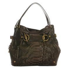 Pre-Owned Gucci Brown Python Jockey Anniversary Bag ($1,440) ❤ liked on Polyvore