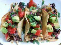 Roasted Chicken taco with black bean salad, cilantro, avocado