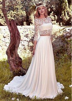 Charming Lace & Satin Chiffon Bateau Neckline Two-piece A-Line Wedding Dresses