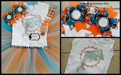 Miami Dolphins NFL Inspired Football Team Baby Infant Toddler Child Tutu Rhinestone Tee Piggie Set Chunky Necklace Set. $85.00, via Etsy. Tutu Cutie Boutique