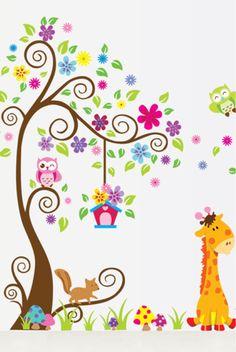 Ufengke albero fiore colorato cute owls scoiattoli adesivi murali camera dei bambini vivai - Murales cameretta bimbi ...