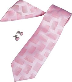 Nathan Pink Pattern Tie, Cufflinks and Pocket Square Gift Set