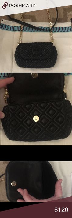 Tory Burch Mini Quilted Crossbody Very small Authentic Quilted TB Crossbody. Will hold cards and phone for going out or could be used as a girls purse. EUC. Tory Burch Bags Crossbody Bags