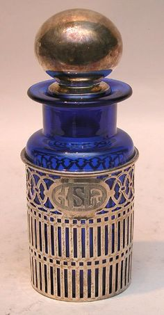 Blue glass and silver scent bottle