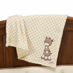 This sweet polka dotted blanket with a fun giraffe applique is the perfect addition to the Cocalo™ Snickerdoodle crib bedding. Baby Nursery Furniture, Nursery Room Decor, Giraffe Nursery, Baby Registry, Crib Bedding, Cribs, Car Seats, Blanket, Cots